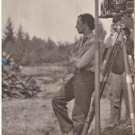 Photo of Keaton on the set of The General by Basil Wolverton, 1926