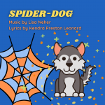 image shows a spiderweb and a Husky dog