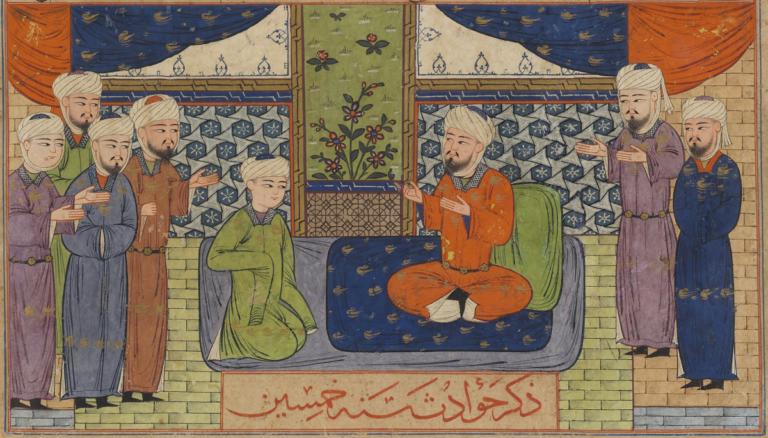 Muawiya with Councillors, from a manuscript of Hafiz-i Abru's Majma' al-tawarikh. Photo credit: Yale University Art Gallery.
