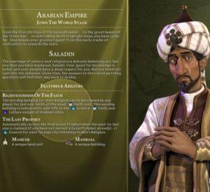 Saladin, Civ VI