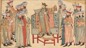 Mahmud of Ghazni receiving a richly decorated robe of honor from the caliph al-Qadir in 1000. Miniature from the Rashid al-Din's Jami' al-Tawarikh. Edinburgh University Library.