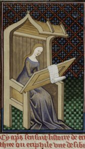 a miniature of the Erithrean Sibyl, writing. British Library, Royal 16 G V f. 23. https://bit.ly/2UxXKFc