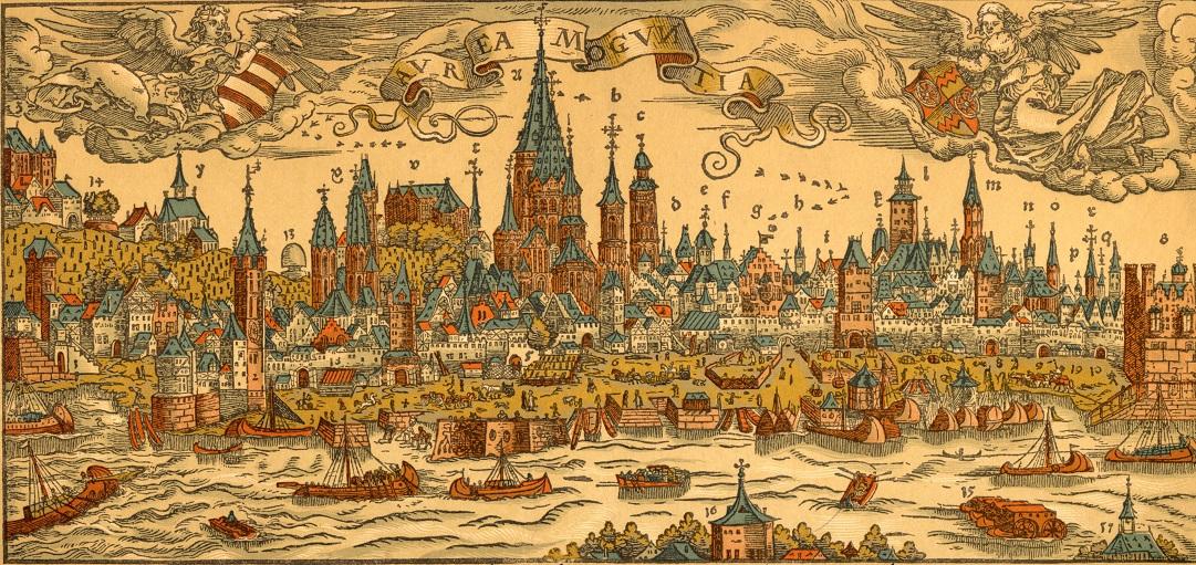 """""""Warhafftige Contrafactur der Löblichen Churfürstlichen Stadt Meyntz"""" created by the artist Franz Behem in 1565"""