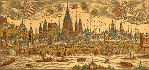 """Stadtarchiv mainz """"Warhafftige Contrafactur der Löblichen Churfürstlichen Stadt Meyntz"""" Franz Behem 1565"""