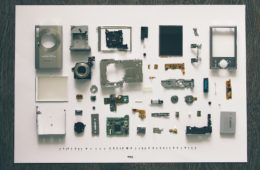 a disassembled digital camera