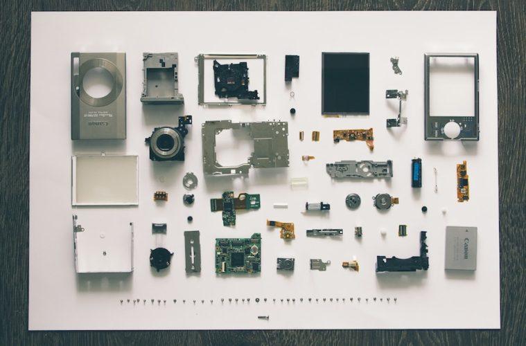 a disassembled digital camera