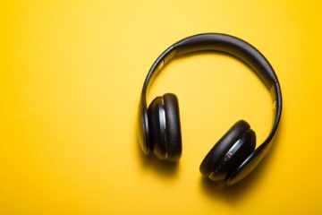 headphones on yellow