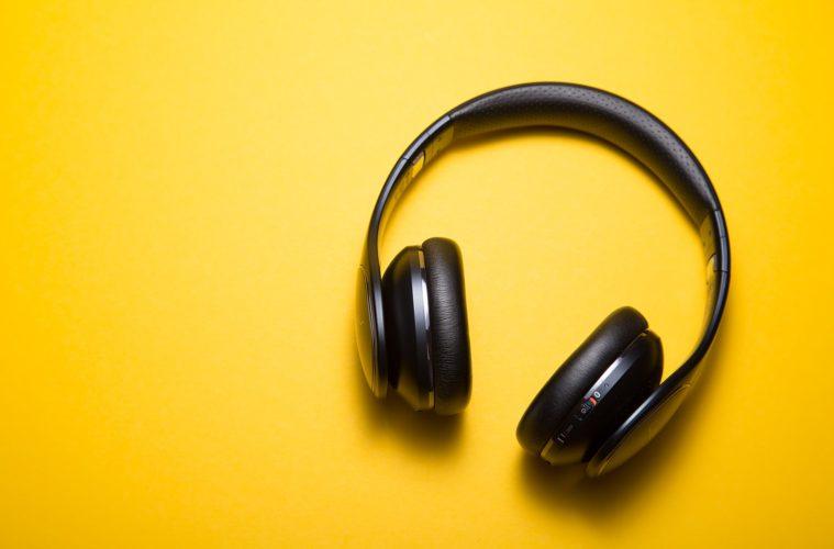 headphones on yellow