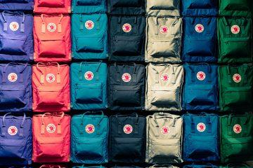 rows of backpacks