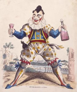 "Joseph Grimaldi as ""Clown,"" an archetypal pantomime character. c.1810. Wikipedia."