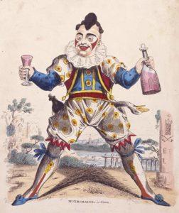 "Joseph Grimaldi as ""Clown,"" an archetypal pantomime character. c.1810. Wikipedia."