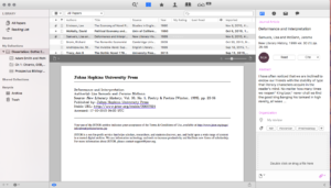 A screen capture from Papers, showing the list of papers in a library and an image of one of the papers