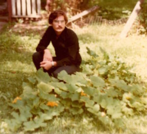 Francois Lachance in garden at King Street, Kingston ON - early 1980s