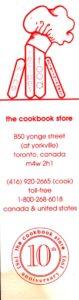 bookmarker - cookbook store - 10th anniversary - toronto