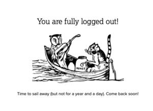 Humanities Commons - screen shot - log off message