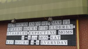 Fiesta Farms - Toronto - Sign Announcing Xpress Hours for elderly, disabled and pregnant women