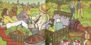 Alain Le Foll illustration from French Favourites - a picnic scene