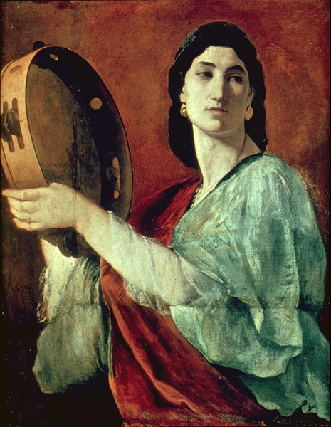 Painting of woman with tambourine, by Anselm Feuerbach