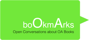 bookmarks logo in green saying 'bookmarks: open conversations about oa books'