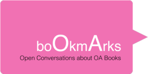 bookmarks logo in pink saying 'bookmarks: open conversations about oa books'