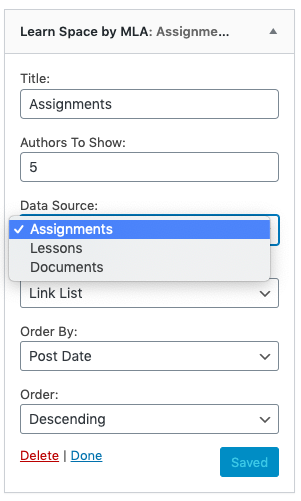 screenshot of the Learning Space widget dropdown to select data source.