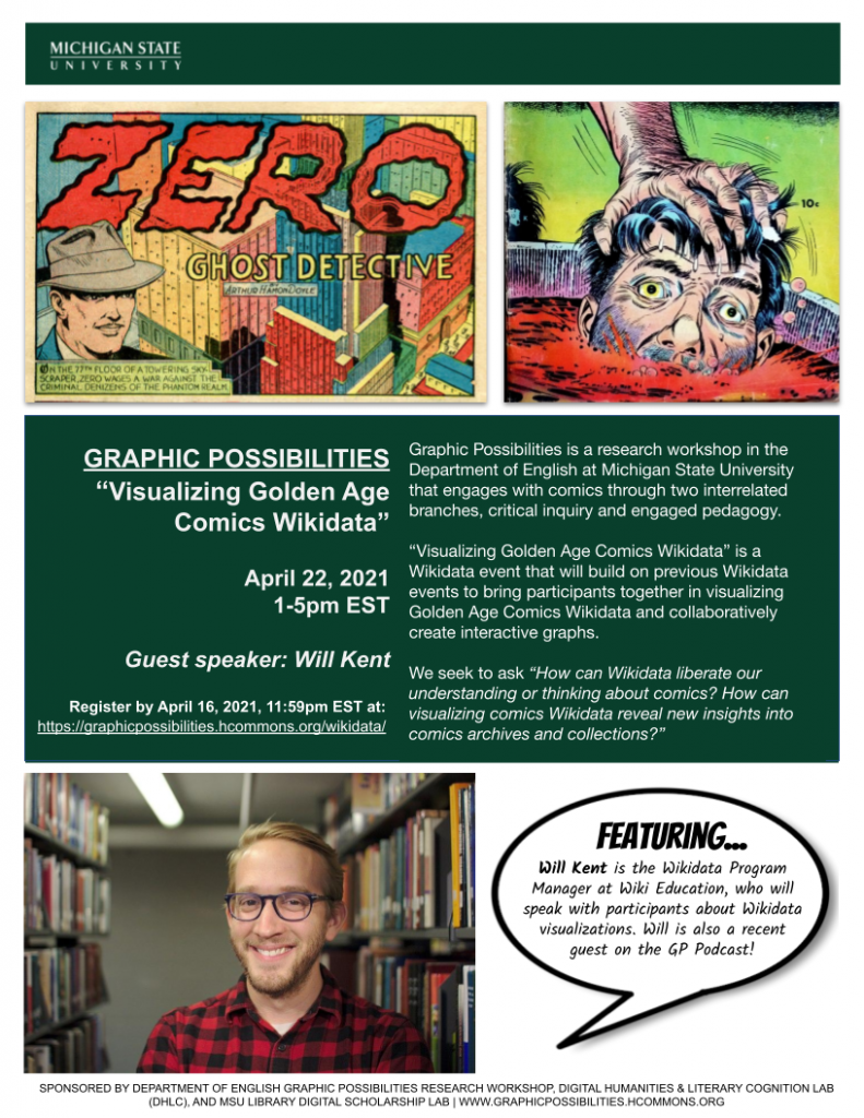 Flyer announcing information about the April 22nd, 2021 Wikidata event held at Michigan State University. Email Justin Wigard for more information. His email is: wigardju@msu.edu