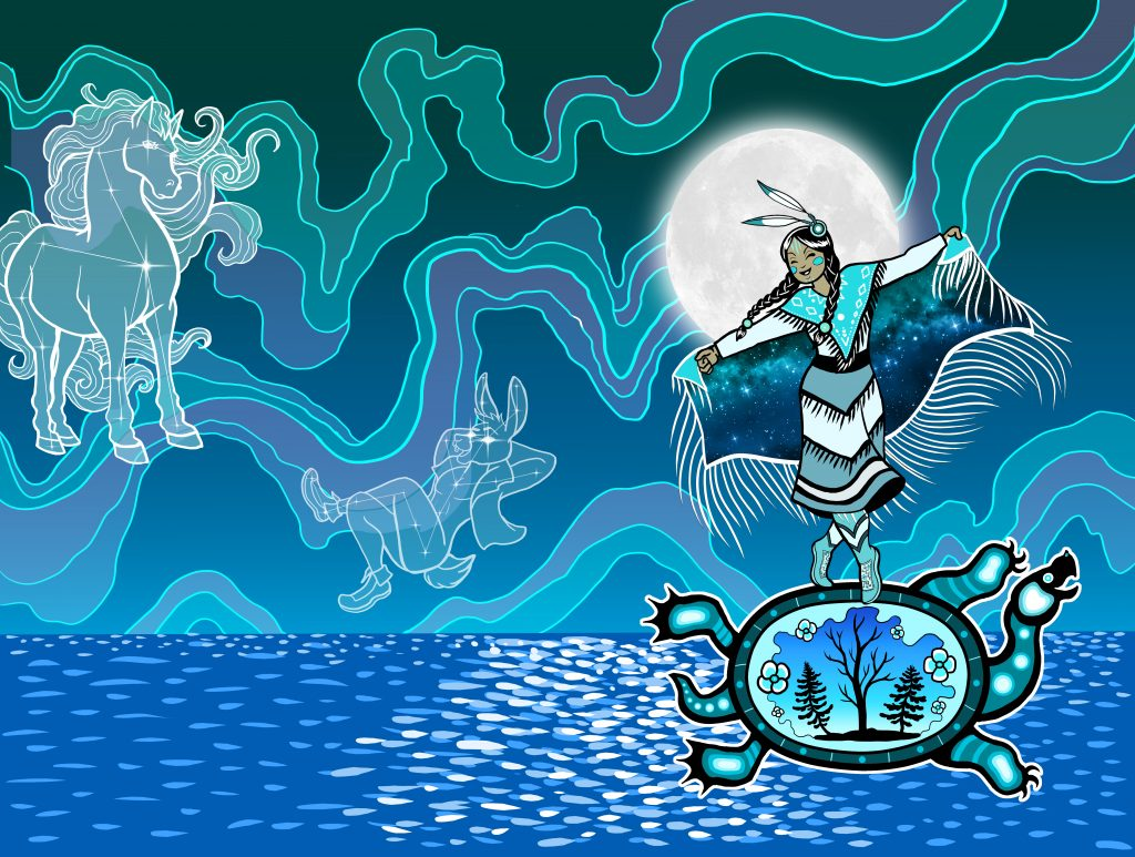 A young indigenous woman in regalia dances upon the back of an X-ray turtle in full moonlight over a great body of water while the Northern Lights are in the background. The entire picture is in shades of blue and blue green. The turtle has trees inside of its shell. In the sky are two constellations of spirits: one is Chokfi, the trickster rabbit, and the other is a great spirit taking the form of a horse. The Sky Woman is dancing, and smiling, and living her best life.