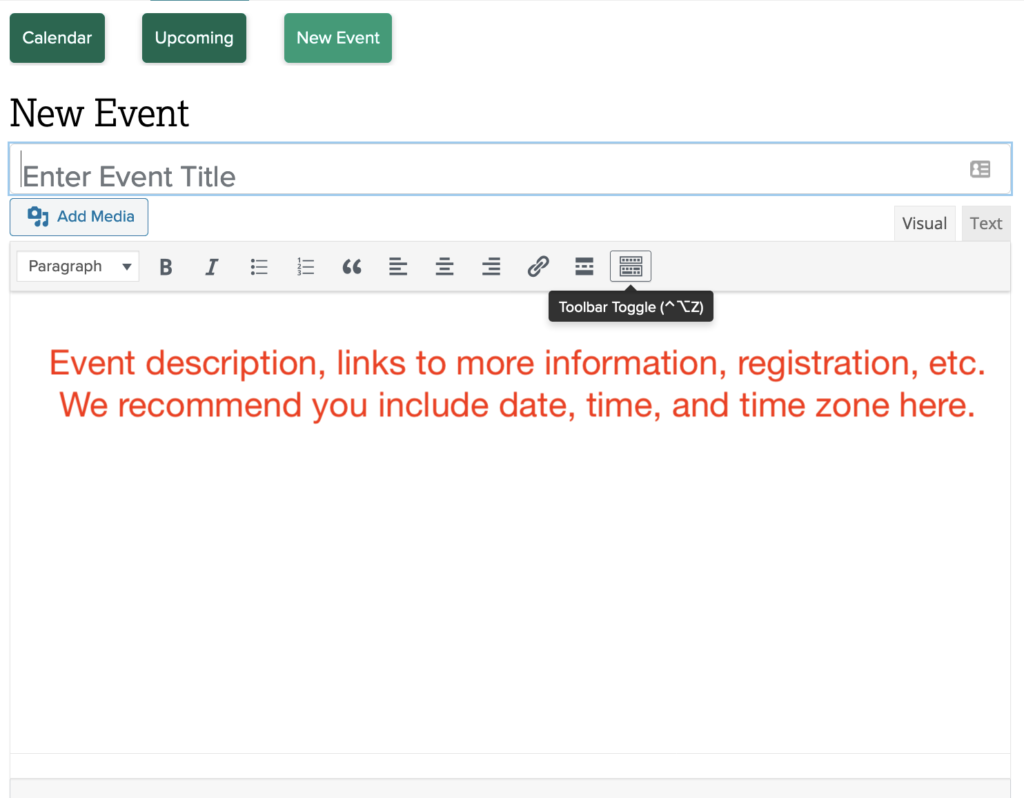 Add event title and description