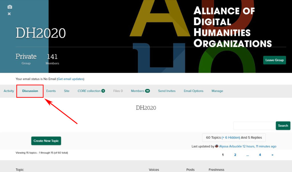 """This image instructs users to select the """"Discussion"""" tab on the DH2020 Humanities Commons homepage"""