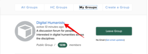 """Image displays an arrow to the link for Digital Humanists under the """"My Groups"""" tab."""