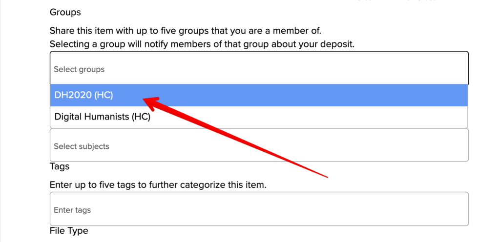 Shows partial image of the form that says Groups with a red arrow pointing to DH2020 (HC) in the dropdown