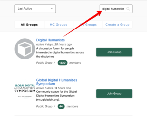 """The image displays an arrow pointing to the search bar in the """"Groups"""" portal. In the top right, """"digital humanities"""" is entered in the search bar as an example."""