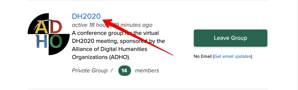 """Shows image of the Groups portal with a red arrow pointed towards the """"DH2020"""" group link"""