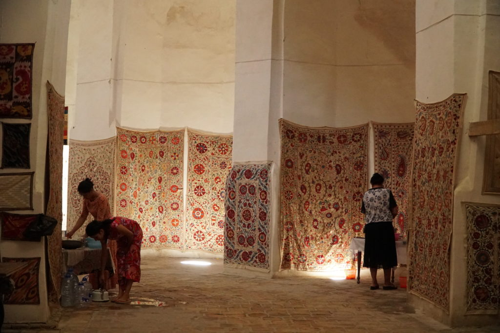 Carpet sellers in Bukhara, Uzbekistan