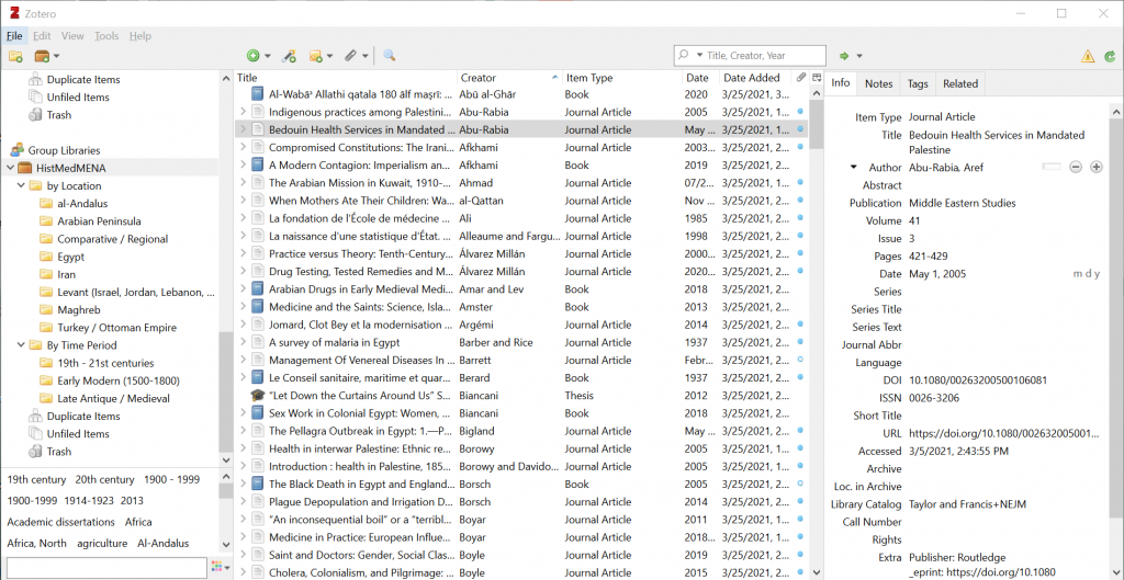 Screenshot of zotero library